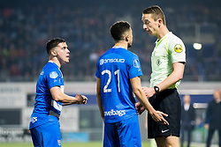 (L-R) Mustafa Saymak of PEC Zwolle, Younes Namli of PEC Zwolle, referee Christiaan Bax during the Dutch Eredivisie match between PEC Zwolle and sbv Excelsior Rotterdam at the MAC3Park stadium on April 14, 2018 in Zwolle, The Netherlands