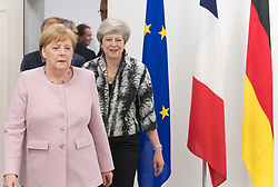 Angela Merkel and Theresa May.<br /> EU meeting with French President Emmanuel Macron, Prime Minister of United Kingdom Theresa May, German Chancellor Angela Merkel, President of European Commission Jean-Claude Juncker, Prime Minister of Netherland Mark Rutte, President of European Council Donald Tusk, Prime Minister of Spain Pedro Sanchez and Prime Minister of Italy Giuseppe Conte during G20. Osaka, Japan, on June 29, 2019. Photo by Jacques Witt/Pool/ABACAPRESS.COM