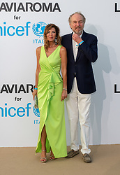 Arturo Artom and moglie arriving at a photocall for the Unicef Summer Gala Presented by Luisaviaroma at Villa Violina on August 10, 2018 in Porto Cervo, Italy. Photo by Alessandro Tocco/ABACAPRESS.COM