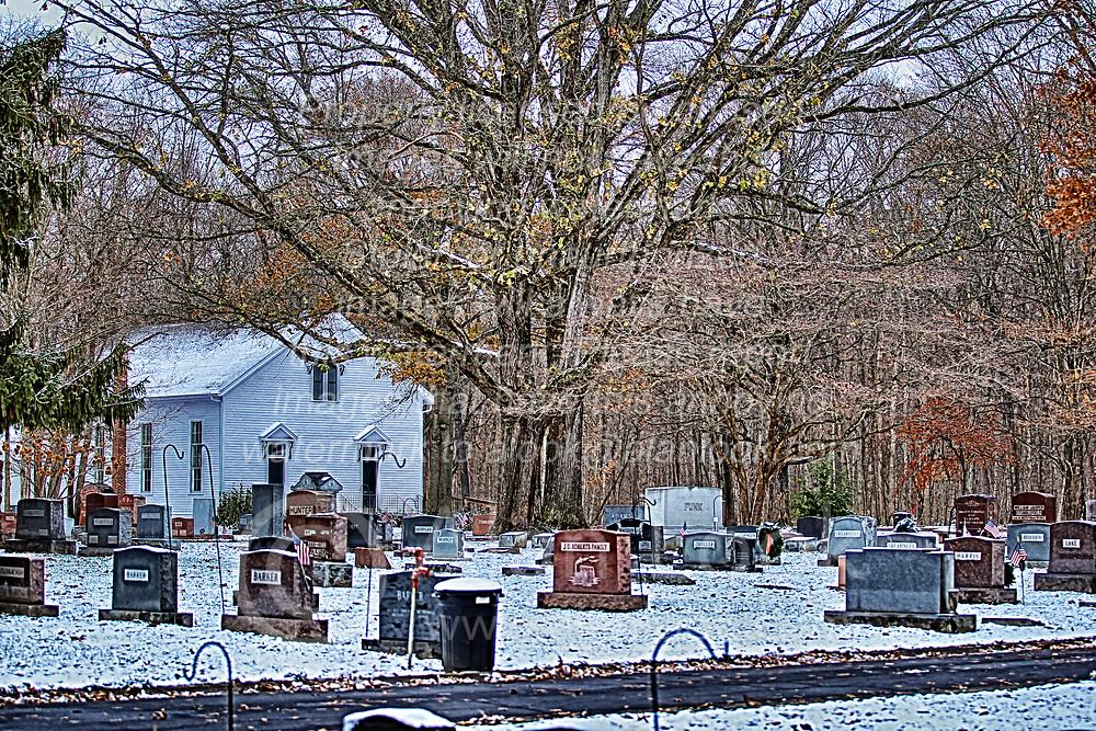 Funks Grove Chapel in snow