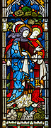 Church of Saint Peter, Baylham, Suffolk, England, UK - detail east window stained glass c 1871 by Clayton and Bell,