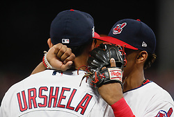 October 5, 2017 - Cleveland, OH, UKR - Cleveland Indians shortstop Francisco Lindor, right, talks with third baseman Giovanny Ursula before the first inning against the New York Yankees in Game 1 of the American League Division Series on Thursday, Oct. 5, 2017, at Progressive Field in Cleveland. (Credit Image: © Leah Klafczynski/TNS via ZUMA Wire)