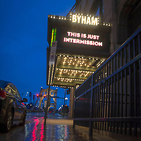 """""""This is Only Intermission"""" is the message to their patrons from The Pittsburgh Cultural Trust on the marquee of the Byham Theater during the stay at home order due to Covid 19 on Tuesday, May 5, 2020 in Pittsburgh .  Photo by Archie Carpenter/UPI"""