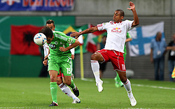 29.07.2011, Red Bull Arena, Leipzig, GER, DFB 1. Pokalrunde, RB Leipzig vs VFL Wolfsburg, im Bild.Thiago Rockenbach Da Silva (RB Leipzig) gegen Christian Träsch (Wolfsburg) .// during the Pokal fight first Round from GER, Leipzig vs VFL Wolfsburg on 2011/07/29, Red Bull Arena, Leipzig, Germany..EXPA Pictures © 2011, PhotoCredit: EXPA/ nph/  Hessland       ****** out of GER / CRO  / BEL ******