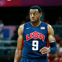 06 August 2012: USA Andre Iguodala rests during 126-97 Team USA victory over Team Argentina, during the men's basketball preliminary, at the Basketball Arena, in London, Great Britain.