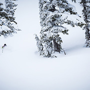 Peder Bottheim skis a powder haven during a winter whiteout in the backcountry near Mount Baker Ski Area in Washington State.