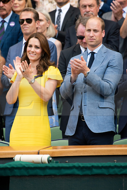 © Licensed to London News Pictures. 15/07/2018. London, UK. HRH The Duchess of Cambridge and HRH The Duke of Cambridge  watch centre court tennis in the royal box on the 13th day of the Wimbledon Tennis Championships 2018 held at the All England Lawn Tennis and Croquet Club. Photo credit: Ray Tang/LNP