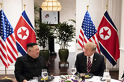 February 27, 2019 - Hanoi, Vietnam - U.S President DONALD TRUMP and North Korean leader and KIM JONG UN sit together during a social dinner at the Sofitel Legend Metropole hotel in Hanoi, Vietnam. (Credit Image: © Shealah Craighead/The White House via ZUMA Wire)