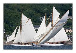 The Lady Anne 1912 a 15 metre tacks in front  of Mariquita 1911 a 19 metre  and Altair 1931 Schooner..Mixed and bright conditions for the fleet as they race from Kames to Largs...* The Fife Yachts are one of the world's most prestigious group of Classic .yachts and this will be the third private regatta following the success of the 98, .and 03 events.  .A pilgrimage to their birthplace of these historic yachts, the 'Stradivarius' of .sail, from Scotland's pre-eminent yacht designer and builder, William Fife III, .on the Clyde 20th -27th June.   . ..More information is available on the website: www.fiferegatta.com . .Press office contact: 01475 689100         Lynda Melvin or Paul Jeffes