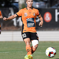 BRISBANE, AUSTRALIA - JANUARY 1: Katrina Gorry of the Roar passes the ball during the round 10 Westfield W-League match between the Brisbane Roar and Melbourne Victory at AJ Kelly Park on January 1, 2017 in Brisbane, Australia. (Photo by Patrick Kearney/Brisbane Roar)