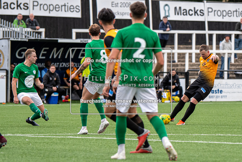BROMLEY, UK - SEPTEMBER 22: Tom Murphy, of Cray Wanderers FC, rifles a shot into the top corner for the fourth goal during the Emirates FA Cup Second Round Qualifier match between Cray Wanderers and Soham Town Rangers at Hayes Lane on September 22, 2019 in Bromley, UK. <br /> (Photo: Jon Hilliger)
