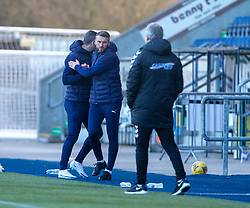 20MAR21 Falkirk's head coaches David McCracken and Lee Miller at the end. Falkirk 2 v 0 Montrose, Scottish Football League Division One game played 20/3/2021 at The Falkirk Stadium.