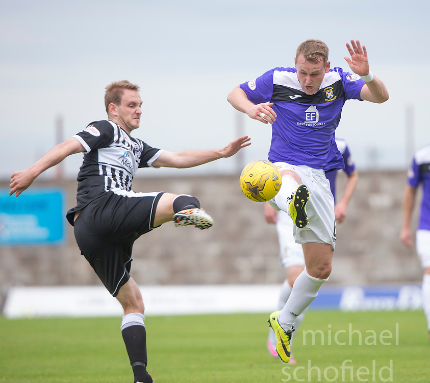 Elgin City's Mark Nicolson and East Fife's Allan Walker. <br /> Half time : East Fife 1 v 1 Elgin City, Ladbrokes Scottish Football League Division Two game played 22/8/2015 at East Fife's home ground, Bayview Stadium.