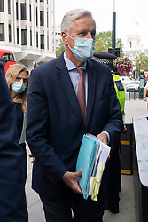 © Licensed to London News Pictures. 10/09/2020. London, UK. EU Chief Brexit negotiator Michel Barnier arrives at the British Government's Department for Business, Energy and Industrial Strategy for a new round of negotiations between the UK and the EU begin. British Prime Minister Boris Johnson has threatened to overwrite parts of the EU withdrawal agreement signed with Brussels last October. Photo credit: London News Pictures