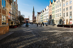Empty streets in Gdansk during coronavirus outbreak in Poland. Empty streets of the Main Town of Gdansk due to the prevailing coronavirus epidemic on Dluga street in Poland, on March 15, 2020. Photo by Fotomag/Newspix/ABACAPRESS.COM