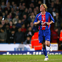 Photo: Chris Ratcliffe.<br /> Geoff Thomas Charity Event. Crystal Palace v Manchester United. 06/04/2006.<br /> Simon Jordan, the Palace chairman makes anm appearance as a substitute