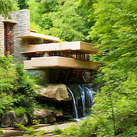 """""""Fallingwater Painterly 3""""<br /> <br /> A lovely digital painting of scenic Fallingwater in Ohiopyle PA."""
