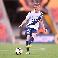 BRISBANE, AUSTRALIA - MARCH 31: Kye Rowles of the Mariners passes the ball during the Round 25 Hyundai A-League match between Brisbane Roar and Central Coast Mariners on March 31, 2018 in Brisbane, Australia. (Photo by Patrick Kearney / Brisbane Roar FC)