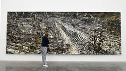 """© Licensed to London News Pictures. 14/11/2019. LONDON, UK. A visitor views """"Super Strings"""", 2018, by Anselm Kiefer at the preview of a new exhibition called """"Superstrings, Runes, The Norns, Gordian Knot"""" by Anselm Kiefer.  The works include large scale paintings and installations that draw on the scientific concept of string theory and are on display at the White Cube Gallery in Bermondsey 15 November to 26 January 2020.  Photo credit: Stephen Chung/LNP"""