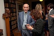 John Malkovich; Lisa Appignanese, Freud Museum dinner, Maresfield Gardens. 16 June 2011. <br /> <br />  , -DO NOT ARCHIVE-© Copyright Photograph by Dafydd Jones. 248 Clapham Rd. London SW9 0PZ. Tel 0207 820 0771. www.dafjones.com.