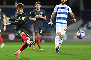 Brentford Midfielder Mathias Jensen(8) shoots at goal during the EFL Sky Bet Championship match between Queens Park Rangers and Brentford at the Kiyan Prince Foundation Stadium, London, England on 17 February 2021.