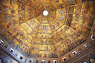 The Medieval mosaics of the ceiling of The Baptistry of Florence Duomo ( Battistero di San Giovanni ) started in 1225 by Venetian craftsmen in a Byzantine style and completed in the 14th century. Florence Italy .<br /> <br /> If you prefer you can also buy from our ALAMY PHOTO LIBRARY  Collection visit : https://www.alamy.com/portfolio/paul-williams-funkystock/byzantine-art-antiquities.html . Type -   Florence   - into the LOWER SEARCH WITHIN GALLERY box. Refine search by adding subject etc<br /> <br /> Visit our BYZANTINE ART PHOTO COLLECTION for more   photos  to download or buy as prints https://funkystock.photoshelter.com/gallery-collection/Roman-Byzantine-Art-Artefacts-Antiquities-Historic-Sites-Pictures-Images-of/C0000lW_87AclrOk .<br /> <br /> Visit our ITALY PHOTO COLLECTION for more   photos of Italy to download or buy as prints https://funkystock.photoshelter.com/gallery-collection/2b-Pictures-Images-of-Italy-Photos-of-Italian-Historic-Landmark-Sites/C0000qxA2zGFjd_k<br /> .<br /> <br /> Visit our MEDIEVAL PHOTO COLLECTIONS for more   photos  to download or buy as prints https://funkystock.photoshelter.com/gallery-collection/Medieval-Middle-Ages-Historic-Places-Arcaeological-Sites-Pictures-Images-of/C0000B5ZA54_WD0s
