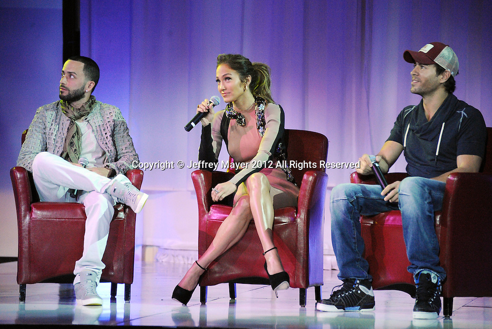 HOLLYWOOD, CA - APRIL 30: Wisin Y Yandel, Jennifer Lopez and Enrique Iglesias announce their Summer Tour at Boulevard3 on April 30, 2012 in Hollywood, California.