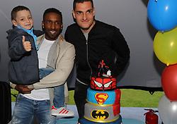 Sunderland footballers Jermain Defoe and Vito Mannone (right) with terminally ill football mascot Bradley Lowery, as he celebrates his sixth birthday at Blackhall Cricket Club near Durham.