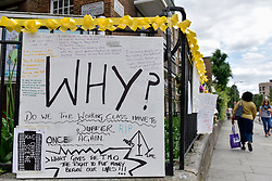 © Licensed to London News Pictures. 23/06/2017. London, UK. Missing persons and other messages are seen on a railing.  Nine days on, police have reported that the Grenfell Tower fire in west London started in a fridge-freezer, and outside cladding and insulation failed safety tests. Photo credit : Stephen Chung/LNP