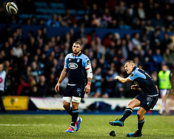 Jarrod Evans of Cardiff Blues kicks a penalty<br /> <br /> Photographer Simon King/Replay Images<br /> <br /> Guinness PRO14 Round 2 - Cardiff Blues v Edinburgh - Saturday 5th October 2019 -Cardiff Arms Park - Cardiff<br /> <br /> World Copyright © Replay Images . All rights reserved. info@replayimages.co.uk - http://replayimages.co.uk