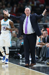 November 17, 2017 - Chicago, IL, USA - Charlotte Hornets head coach Steve Clifford reacts after one of his players is fouled in the second quarter during action against the Chicago Bulls at the United Center in Chicago on Friday, Nov. 17, 2017. (Credit Image: © John J. Kim/TNS via ZUMA Wire)