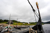 Norway, Lofoten. The Lofotr Viking Museum. Reconstruction of Viking boats.