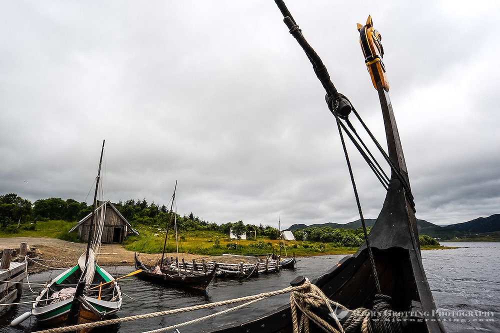 Norway, Lofoten. The Lofotr Viking Museum. Reconstruction of Viking boats.