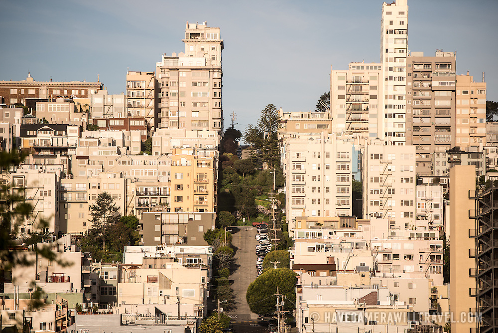One of the steep hills in the Telegraph Hill neighborhood of San Francisco, California.