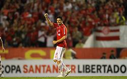 Bolivar comemora seu gol contra o Deportivo Quito, do Equador em partida válida pela Copa Libertadores da América, no estádio Beira Rio, em Porto Alegre. FOTO: Jefferson Bernardes/ Preview.com