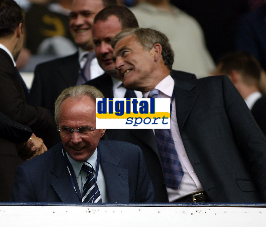 Photo: Chris Ratcliffe.<br />Tottenham v Liverpool. The Barclays Premiership.<br />10/09/2005.<br />Sven Goran Eriksson has Trevor Brooking right behind him?