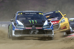 April 29, 2018 - Montalegre, Vila Real, Portugal - Petter SOLBERG (NOR) in Volkswagen Polo R of PSRX Volkswagen Sweden (L) and Kevin HANSEN (SWE) in Peugeot 208 of Team Peugeot  Total (R) in action during the World RX of Portugal 2018, at Montalegre International Circuit, on April 29, 2018 in Montalegre, Portugal. (Credit Image: © Dpi/NurPhoto via ZUMA Press)