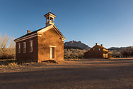 Schoolhouse/church and Alonzo H. Russell home, Grafton Townsite, ghost town of a Mormon farm settlement along the Virgin River, south of Zion National Park, Utah