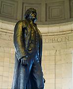 Statue of Thomas Jefferson inside the Jefferson Memorial, Washington, District of Columbia.