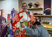 Kyoto Shibori Museum opened in 2001 in Kyoto, Japan, to protect and pass down the knowledge of this traditional fabric dyeing technique.  To license this Copyright photo, please inquire at PhotoSeek.com.
