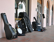 Musical instruments at the 2010 Tucson Folk Festival Courtyard Stage. This photo was used on the inside spread of the KXCI-FM 91.3 Community Radio compilation CD, 25 Years of the Tucson Folk Festival.
