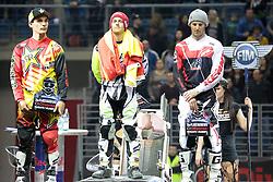 20.03.2015, Tauron Arena, Krakau, POL, Diverse night of the Jumps, FMX Weltmeisterschaft 2015, im Bild OD LEWEJ ROB ADELBERG (AUSTRALIA), MAIKEL MELERO (HISZPANIA), REMI BIZOUARD (FRANCJA) // during the diverse night of the jumps FMX world championchip 2015 at the Tauron Arena in Krakau, Poland on 2015/03/20. EXPA Pictures © 2015, PhotoCredit: EXPA/ Newspix/ MAREK KLIMEK/NEWSPIX.PL<br /> <br /> *****ATTENTION - for AUT, SLO, CRO, SRB, BIH, MAZ, TUR, SUI, SWE only*****