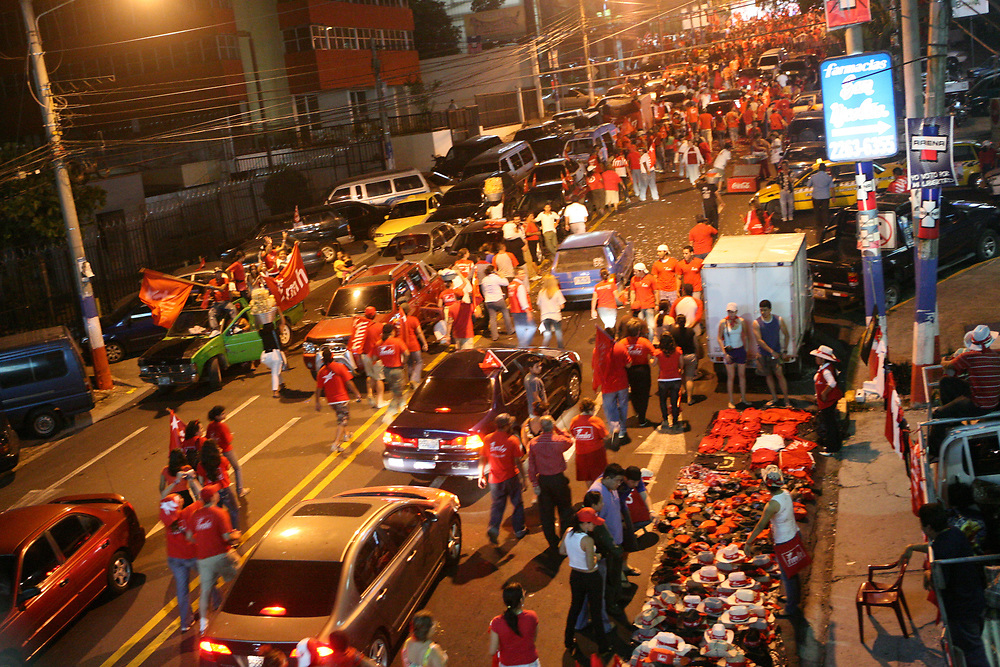 FMLN supported walked up the Paseo Escalón to celebrate the electoral win