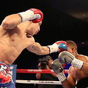 NEW ORLEANS, LA - JULY 14:  Jean Carlos Rivera (L) fights Angel Luna during the Regis Prograis v Juan Jose Velasco ESPN boxing match at the UNO Lakefront Arena on July 14, 2018 in New Orleans, Louisiana.  (Photo by Alex Menendez/Getty Images) *** Local Caption *** Jean Carlos Rivera; Angel Luna