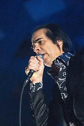 The frontman Nick Cave, of Nick Cave and the Bad Seeds, on stage tonight at The Barrowlands, Glasgow, Scotland.<br /> ©Michael Schofield.