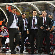 Efes Pilsen's coach Ergin ATAMAN (L) during their Turkish Basketball league Play Off Final third leg match Fenerbahce Ulker between Efes Pilsen at the Abdi Ipekci Arena in Istanbul Turkey on Tuesday 25 May 2010. Photo by Aykut AKICI/TURKPIX