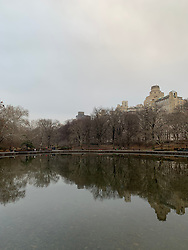 View of Upper West Side of New York City in Central Park