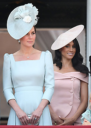 Members of The Royal Family attend Trooping the Colour 2018 at Buckingham Palace, London, UK, on the 9th June 2018. 09 Jun 2018 Pictured: Catherine, Duchess of Cambridge, Kate Middleton, Meghan Markle, Duchess of Sussex. Photo credit: James Whatling / MEGA TheMegaAgency.com +1 888 505 6342