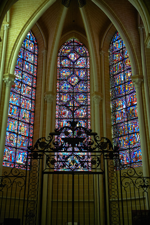Medieval stained glass Window of the Gothic Cathedral of Chartres, France - dedicated to the Life of St Remigius (Remy). Left window - Life of St Remigius, centre - Life and relics of St Stephen, right - Life and miracles of St Nicholas.  A UNESCO World Heritage Site.. .<br /> <br /> Visit our MEDIEVAL ART PHOTO COLLECTIONS for more   photos  to download or buy as prints https://funkystock.photoshelter.com/gallery-collection/Medieval-Middle-Ages-Art-Artefacts-Antiquities-Pictures-Images-of/C0000YpKXiAHnG2k