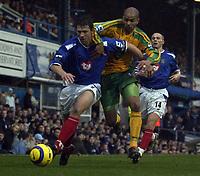 Fotball<br /> Premier League England 2004/2005<br /> Foto: SBI/Digitalsport<br /> NORWAY ONLY<br /> <br /> 01/01/2005<br /> Portsmouth v Norwich City <br /> Barclays Premiership<br /> <br /> Arjan de Zeeuw of Pompey battles with Leon McKenzie of Norwich.